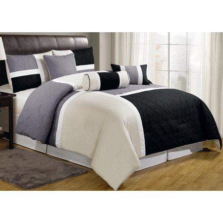 Chezmoi Collection Upland 7-Piece Medallion Patchwork Comforter Set ()
