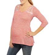 Maternity 3/4 Sleeve Top with Crochet Detail
