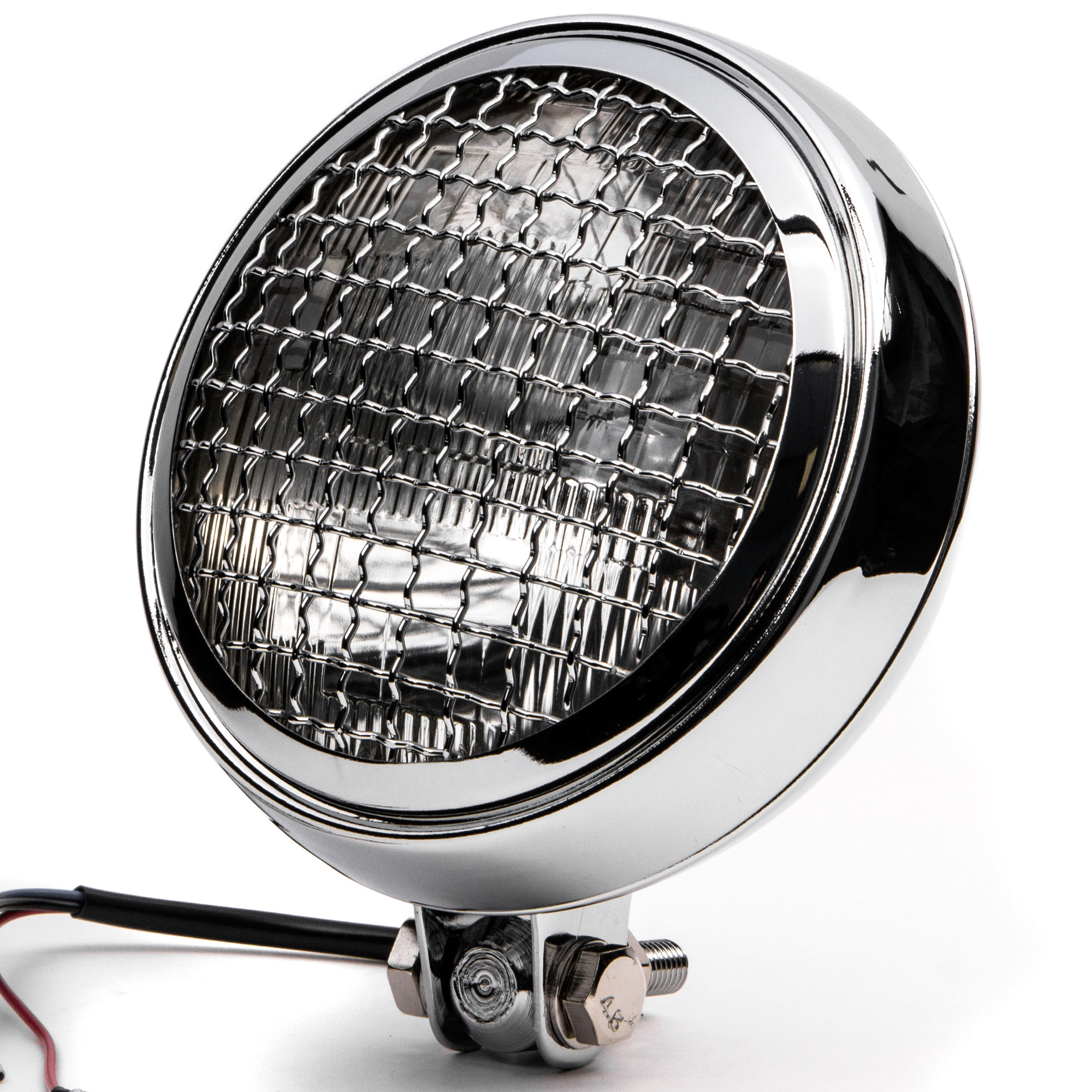 """Krator 6"""" Chrome Motorcycle Headlight w/ Mesh Grill High Low Beam Headlamp Bottom Mount for Victory Hammer 8-Ball - image 8 of 8"""