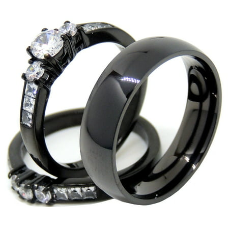 Couples Rings Black Set Womens 3 Stone Small Round CZ Engagement Ring Mens Traditional Wedding Band - Size W5M13 (Traditional Engagement Rings)
