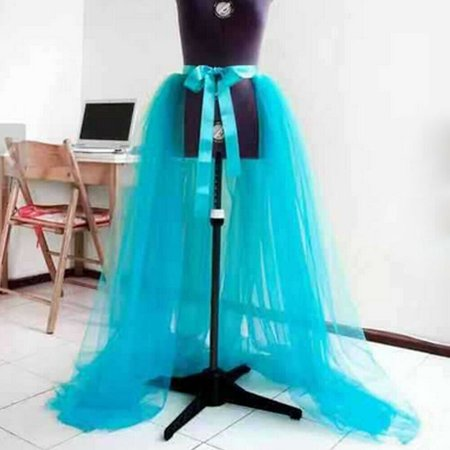 Black Tutu Womens (Hot Women Tulle Tutu Long Elastic Waist Skirt Wedding Party Prom Mesh Maxi)