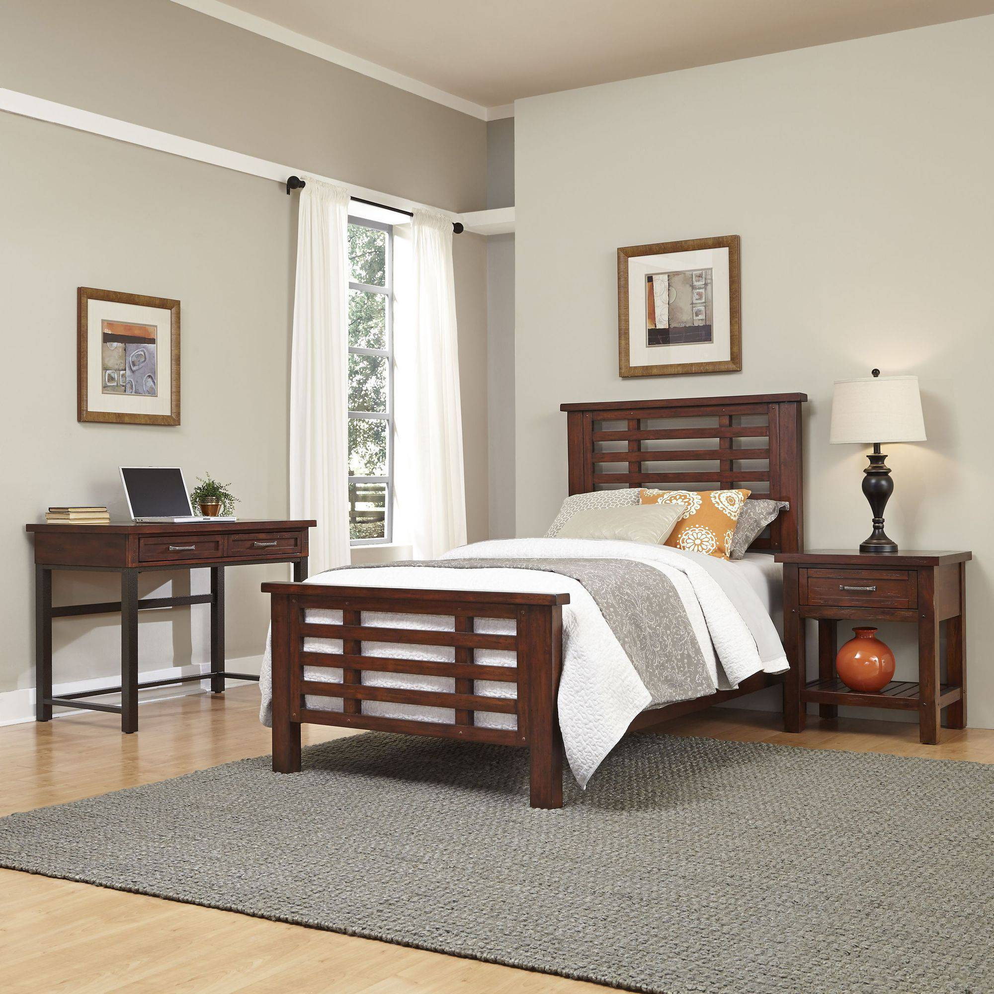 Home Styles Furniture Cabin Creek Twin Bed, Night Stand and Student Desk with Hutch