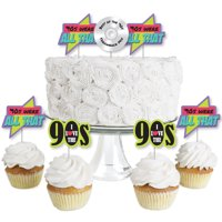 90's Throwback - Dessert Cupcake Toppers - 1990s Party Clear Treat Picks - Set of 24