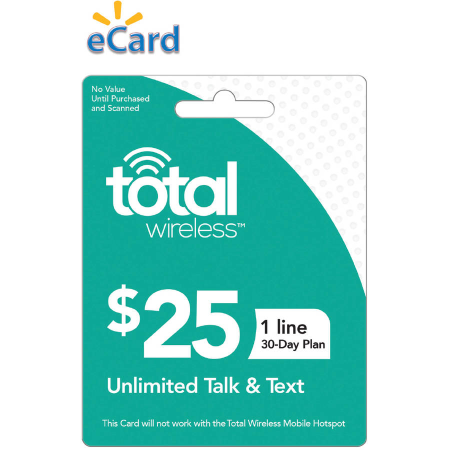 Total Wireless $25 Unlimited Talk and SMS (No Data) 1 Line, 30 Service Days (Email Delivery)
