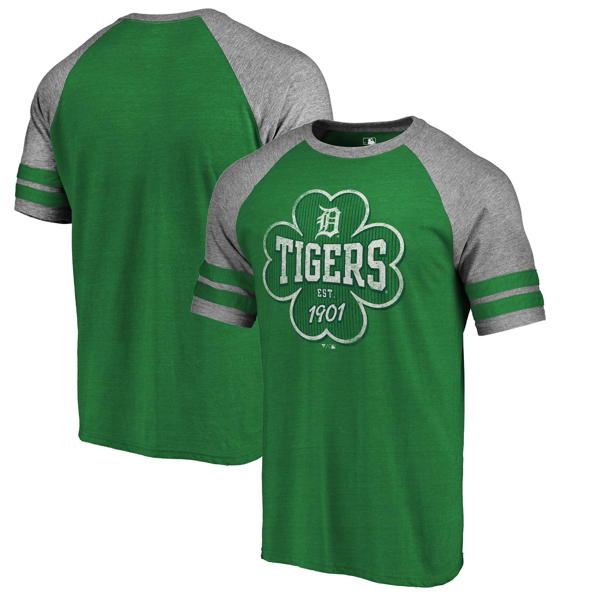 Detroit Tigers Fanatics Branded 2018 St. Patrick's Day Emerald Isle Tri-Blend Raglan T-Shirt - Kelly Green