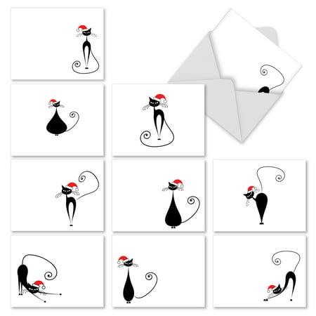 M2265 meowy christmas 10 assorted merry christmas greeting cards m2265 meowy christmas 10 assorted merry christmas greeting cards featuring vector art cats m4hsunfo