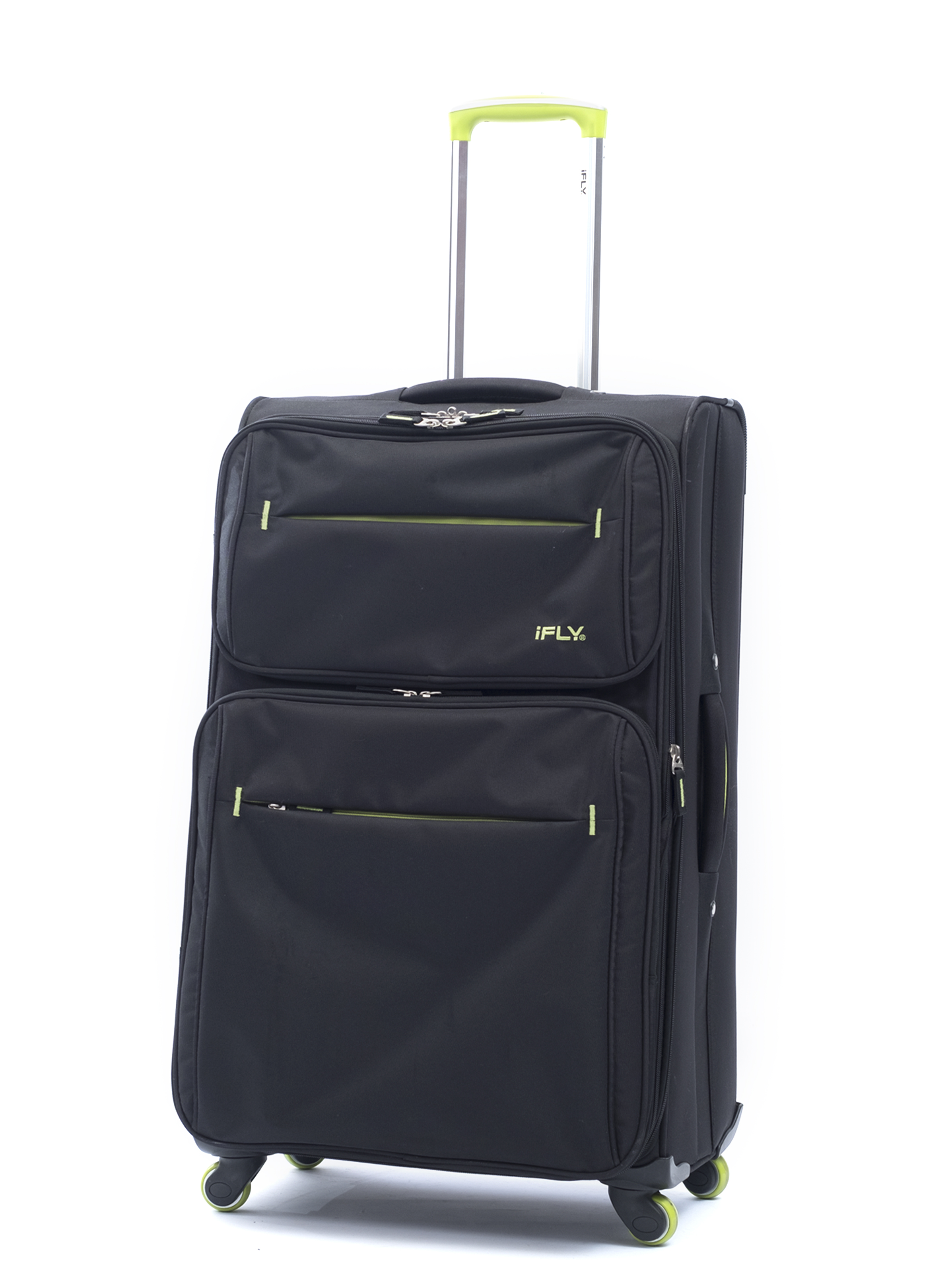 iFLY Soft Sided Luggage Accent 24, Black and Green