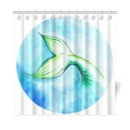 YUSDECOR Mermaid Fish Tail Shower Curtain Home Decor Bathroom Shower Curtain 66x72 inch - image 1 de 1