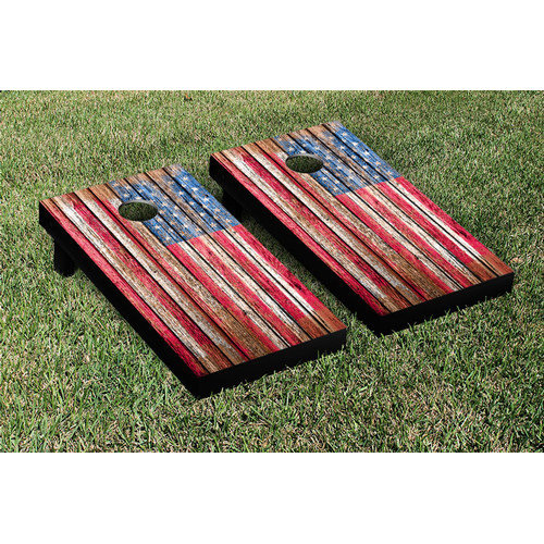 Victory Tailgate NCAA United States US Flag Distressed Wood Cornhole Game Set