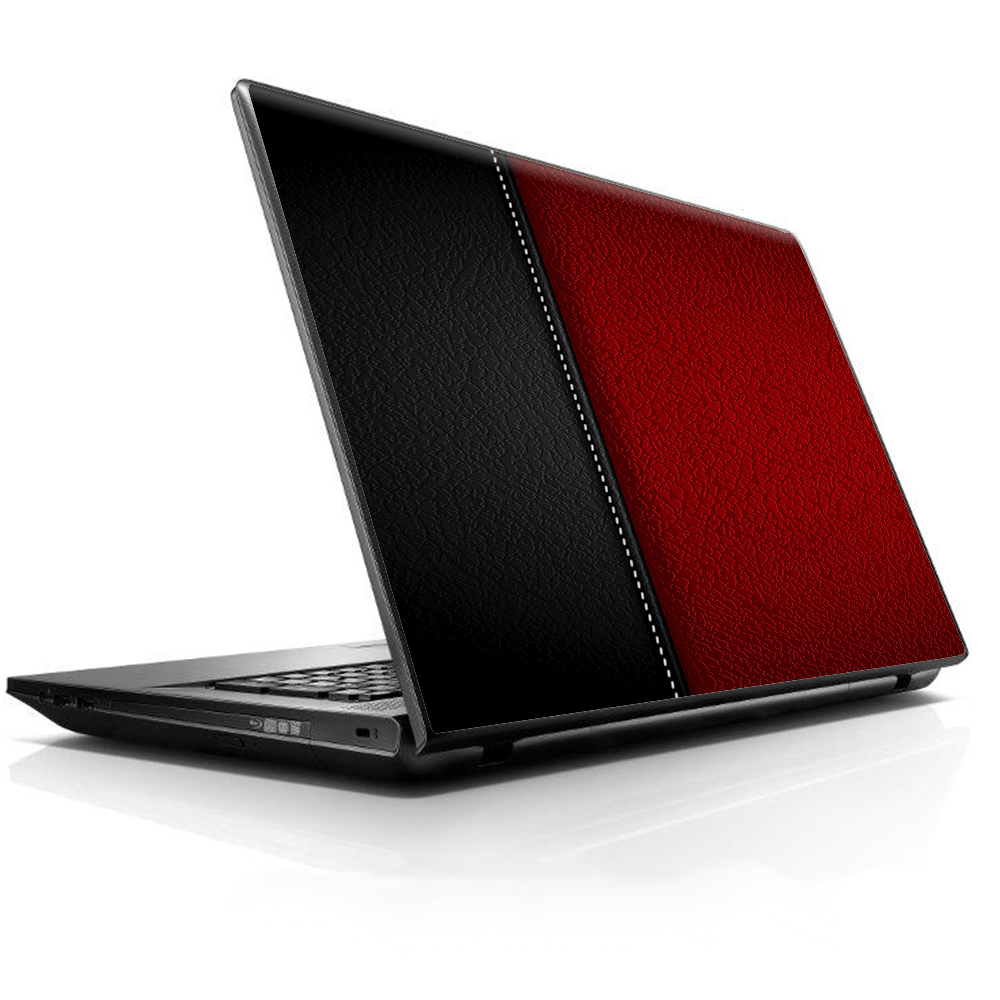 """Laptop Notebook Universal Skin Decal Fits 13.3"""" To 16"""" / Black And Red Leather Pattern"""