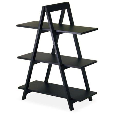 Wood A-Frame 3-Tier Shelf, Black (Winsome Wood 4 Shelf Narrow Shelving Unit)