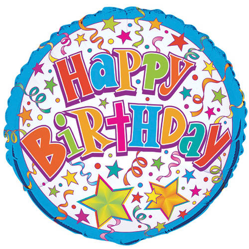 "18"" Foil Bright Stars Happy Birthday Balloon"