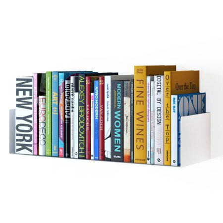 Wallniture Floating Bookshelves - Wall-Mounted Metal Shelving Units for DVDs, CDs, Photos and More - Sleek, Modern Display Storage White - Quick and Easy to Install, Hardware Included ()