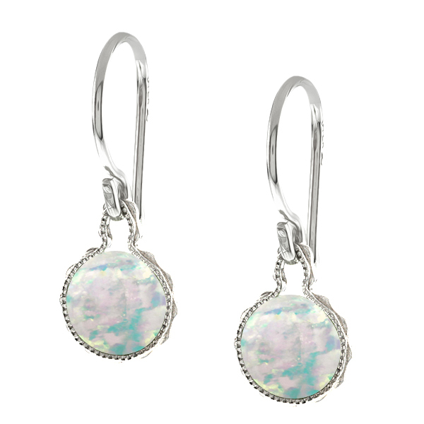 1.30 Ct Round White Opal Sterling Silver wrap Stud Earrings 6mm