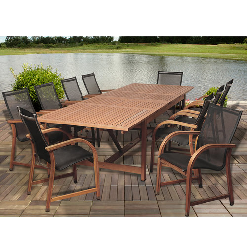 Damon 11-Piece Eucalyptus Extendable Rectangular Patio Dining Set