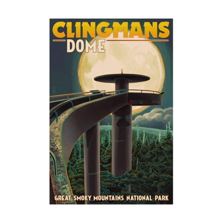Clingmans Dome and Moon - Great Smoky Mountains National Park, TN Print Wall Art By Lantern