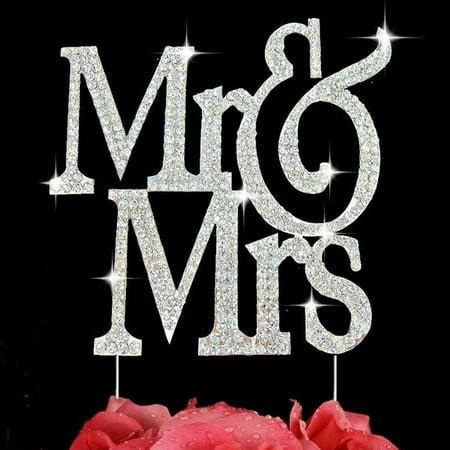 Mr & Mrs Silver Bling Crystal Cake Topper Wedding Cake Decoration Large - Custom Wedding Cake Topper