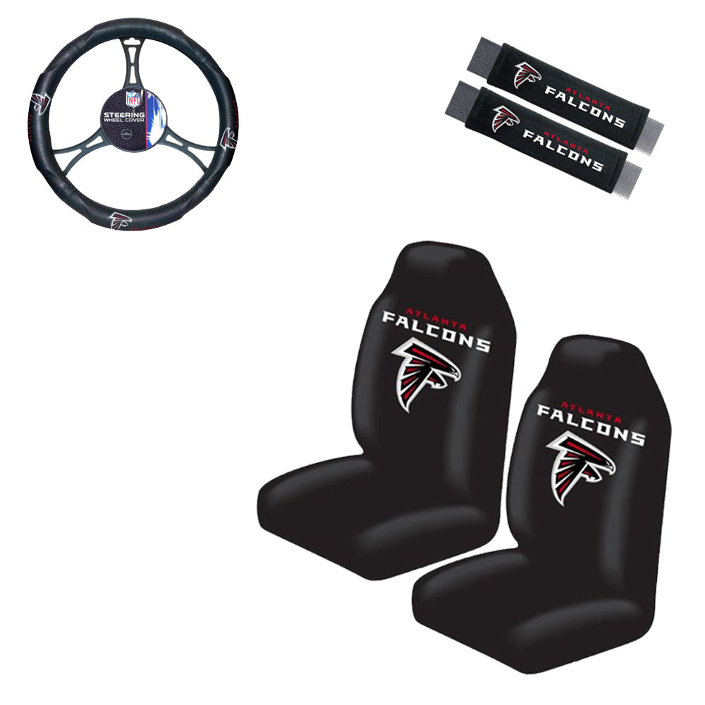 Atlanta Falcons 2 Seat Covers With 2 Shoulder Pads And a Wheel Cover