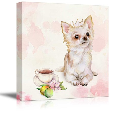 wall26 Square Dog Series Canvas Wall Art - Watercolor Style Painting of a Mexican breed Chihuahua - Giclee Print Gallery Wrap Modern Home Decor Ready to Hang - 24x24 (Best Pointing Dog Breeds)