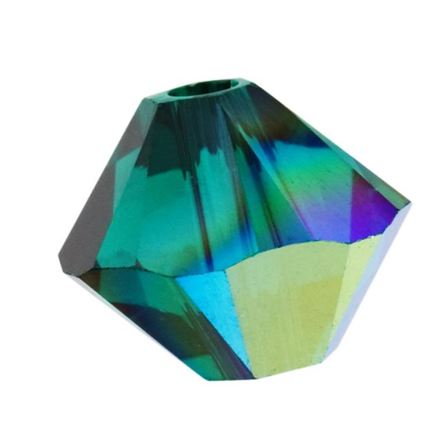 Swarovski Crystal, #5328 Bicone Beads 3mm, 25 Pieces, Emerald AB