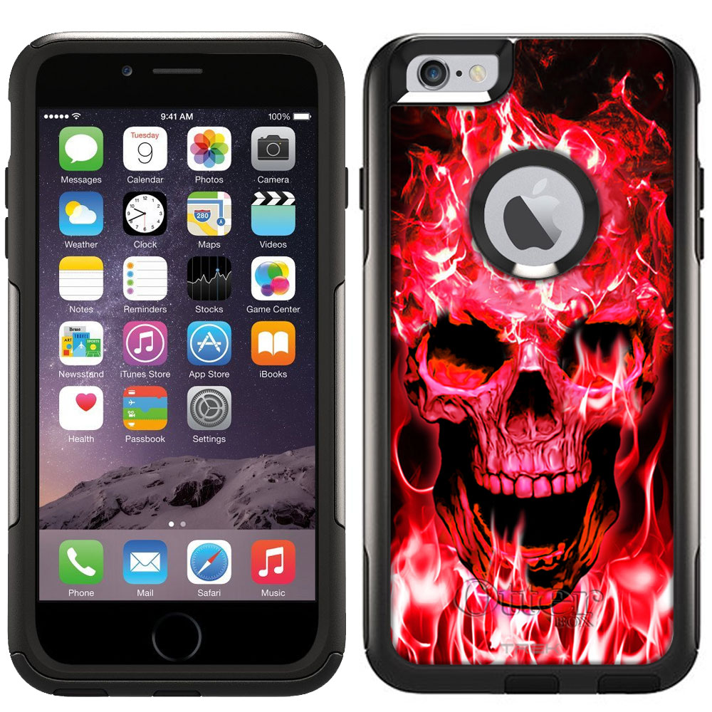 Otterbox Commuter Case for Apple iPhone 6 Plus - Red Flaming Skull on Black