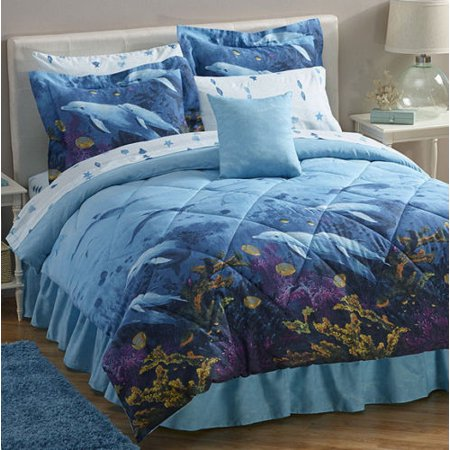 Dolphins, Beach, Tropical, Nautical, Twin Comforter Set (6 Piece Bed In A Bag)