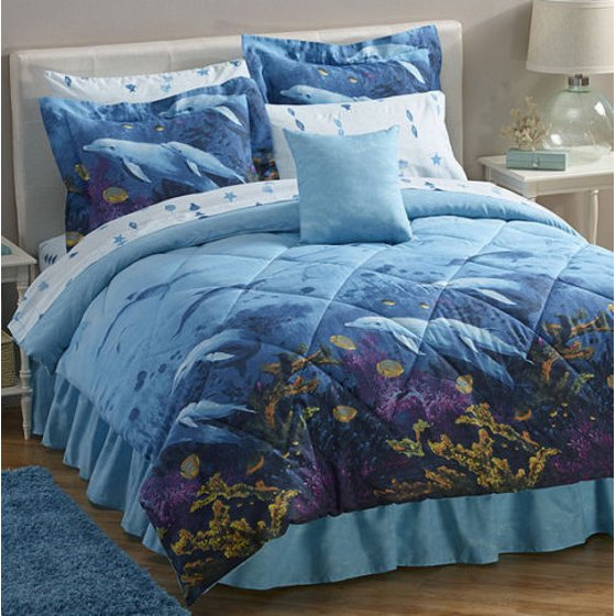 Dolphins Beach Tropical Nautical King Comforter Set 8