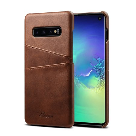 "Samsung Galaxy S10 Case, Slim Thin Fit PU Leather Hard Back Protective Case Cover For Galaxy S10 6.1"" Brown"