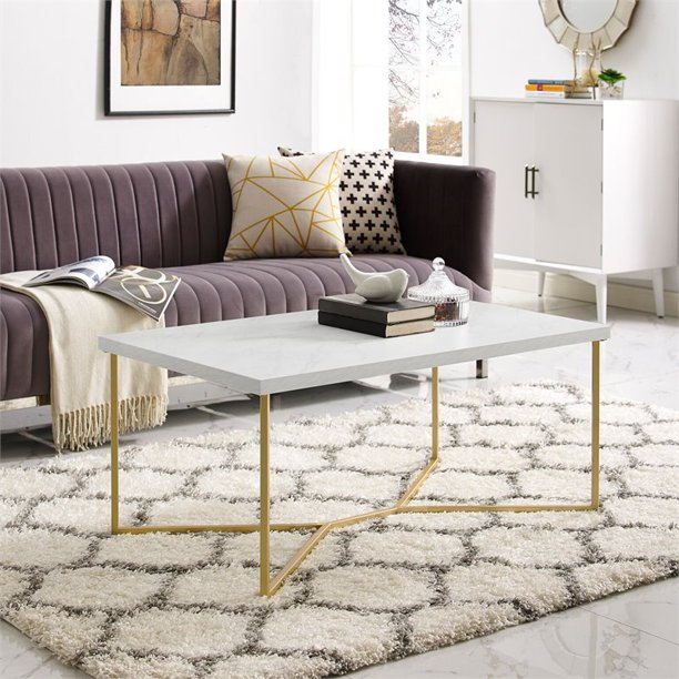 walker edison rectangule coffee table with faux white marble top and gold base