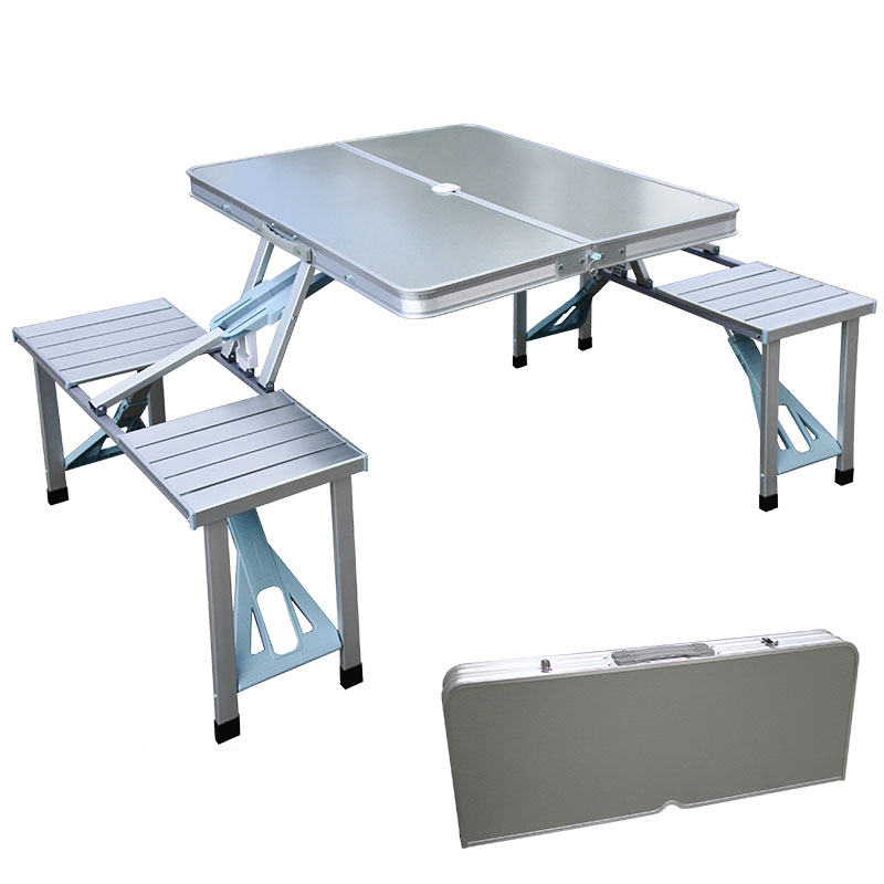 Folding Picnic Set Table with 4 Seats Aluminum Suitcase Handy Carry