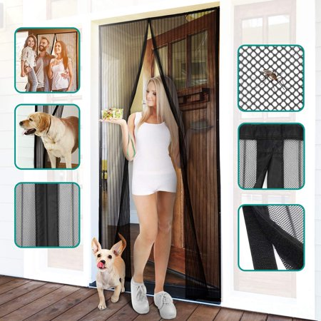 Juslike Magnetic Screen Door Mesh Curtain with Full Frame Magic Tape Mesh Door Cover for Front Door and Home Outside Kids/Pets Walk Through Easily ()
