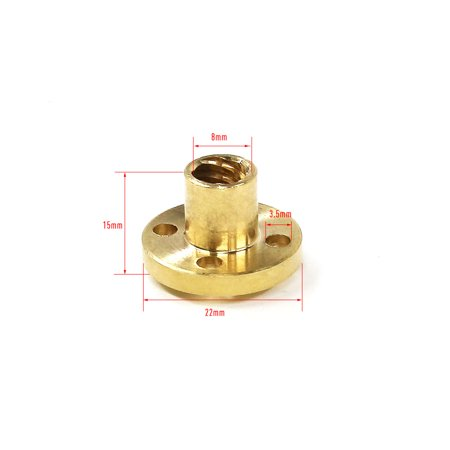 20pcs Brass Screw Nut for 8mm T8 Threaded Rod 3D Printer Parts Z - image 1 of 6