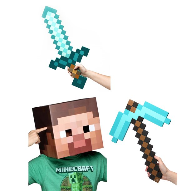 Minecraft Steve Head, Diamond Sword & Pickaxe Costume Set ...Steve Minecraft Costume Party City