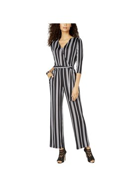 NY Collection Womens Petites Striped 3/4 Sleeves Jumpsuit