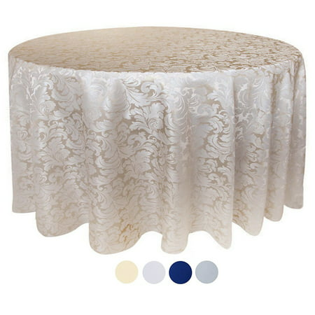 Tektrum 90 inch Round Damask Jacquard Tablecloth Table Cover - Waterproof/Spill Proof/Stain Resistant/Wrinkle Free/Heavy Duty- Great for Banquet, Parties, Dinner,  Wedding (Beige)