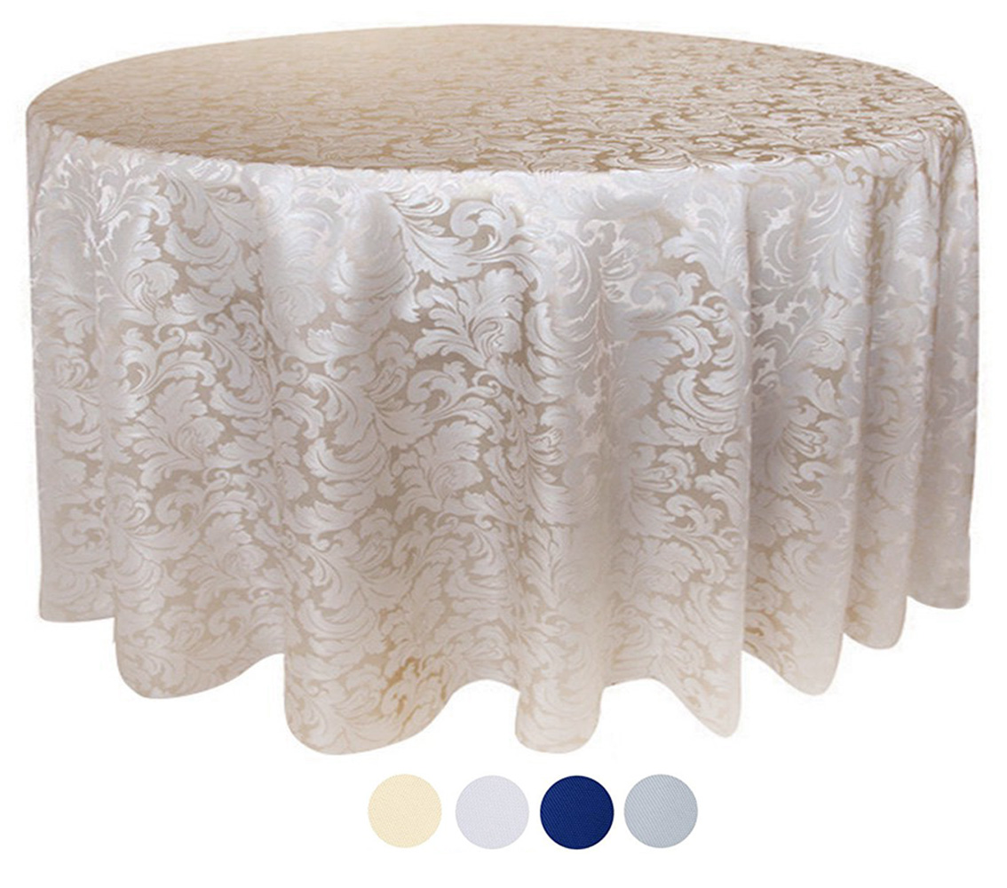 Tektrum 90 Inch Round Damask Jacquard Tablecloth Table Cover    Waterproof/Spill Proof/Stain