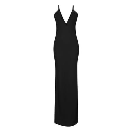 Leadingstar Women's Fashion Sexy Deep V-neck Backless Spaghetti Strap Maxi Tank Split Side Long Dress - image 6 of 8
