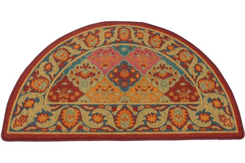 Multi Burgundy Half Round Hearth Rug 43 inch by