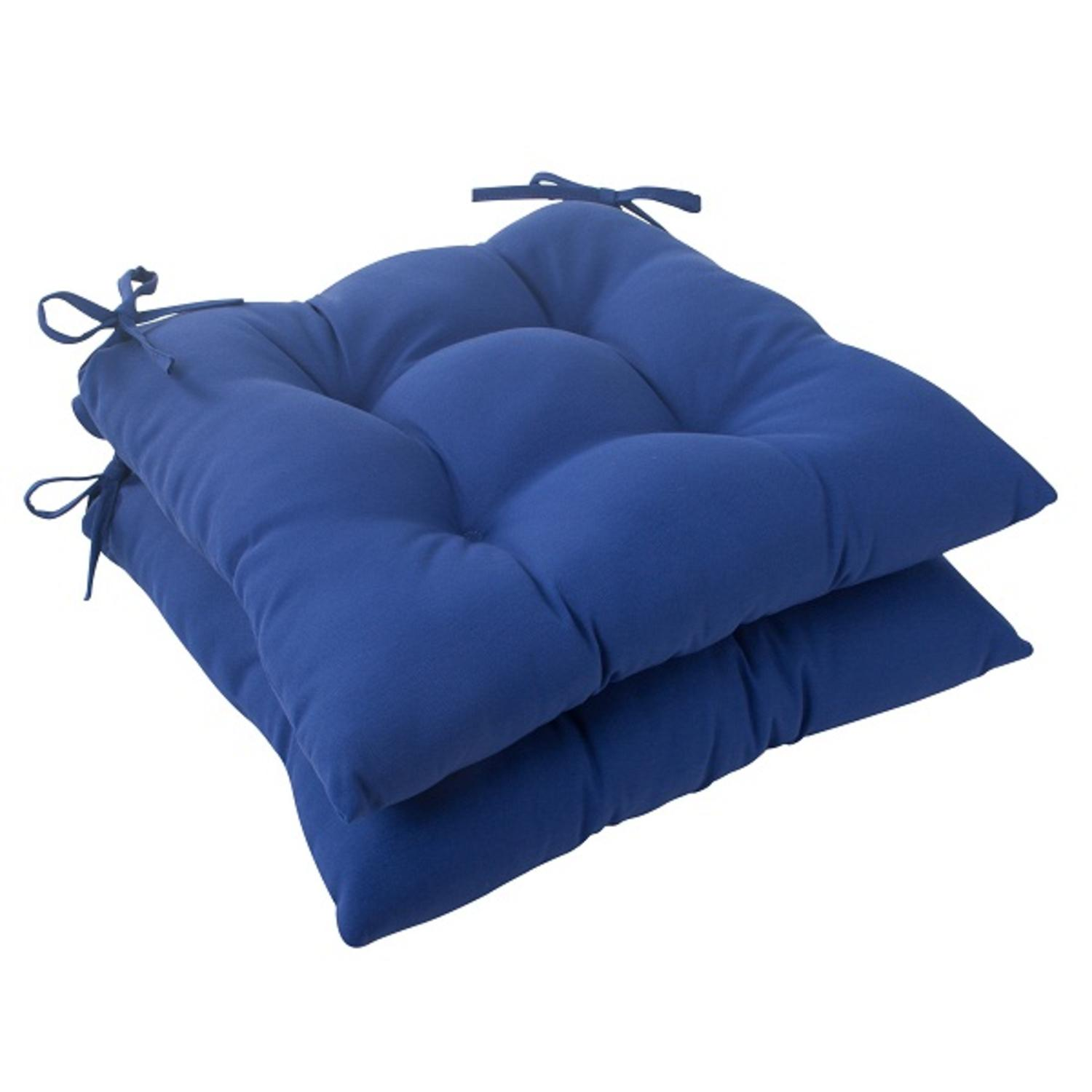 Set of 2 Traditional Navy Blue Outdoor Patio Tufted Seat Cushions with Ties 19