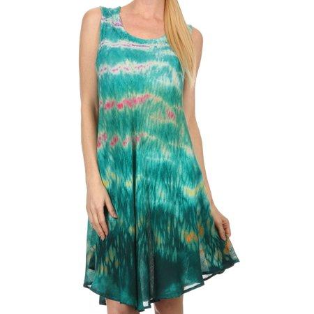 Short Caftan - Sakkas Nora Sleeveless Embroidered Short Tie Dye Caftan Dress / Cover Up - Teal - One Size Regular