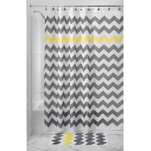 "InterDesign Chevron Fabric Shower Curtain, 108"" x 72"""