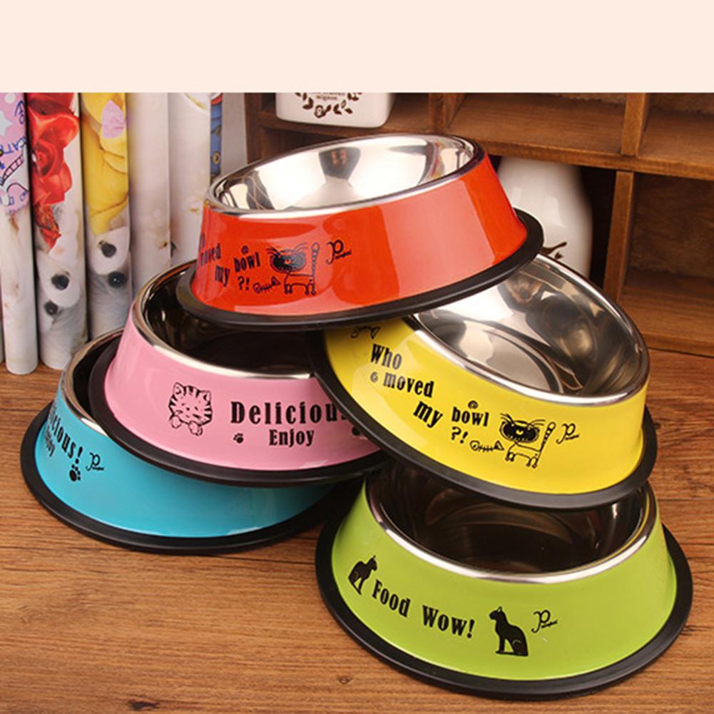 Girl12Queen Stainless Steel Anti-skid Pet Dog Cat Food Water Bowl Pet Feeding Feeder Bowl