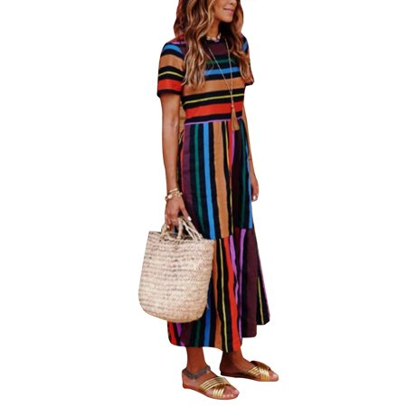 Boho Beach Dress for Women Colorful Stripes Long Maxi Sundress Summer Casual Evening Party Cocktail Holiday Dress (Striped Hoodie Dress)