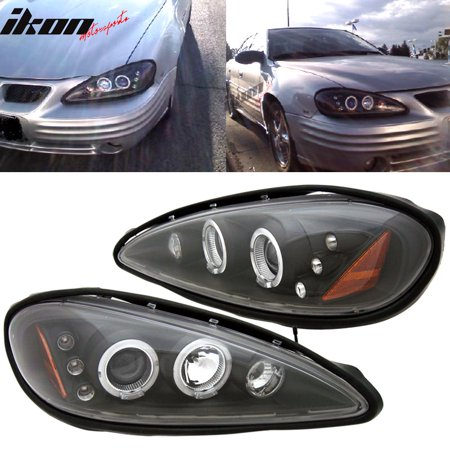 Fits 99 05 Pontiac Grand Am Led Halo Bk Projector Headlights