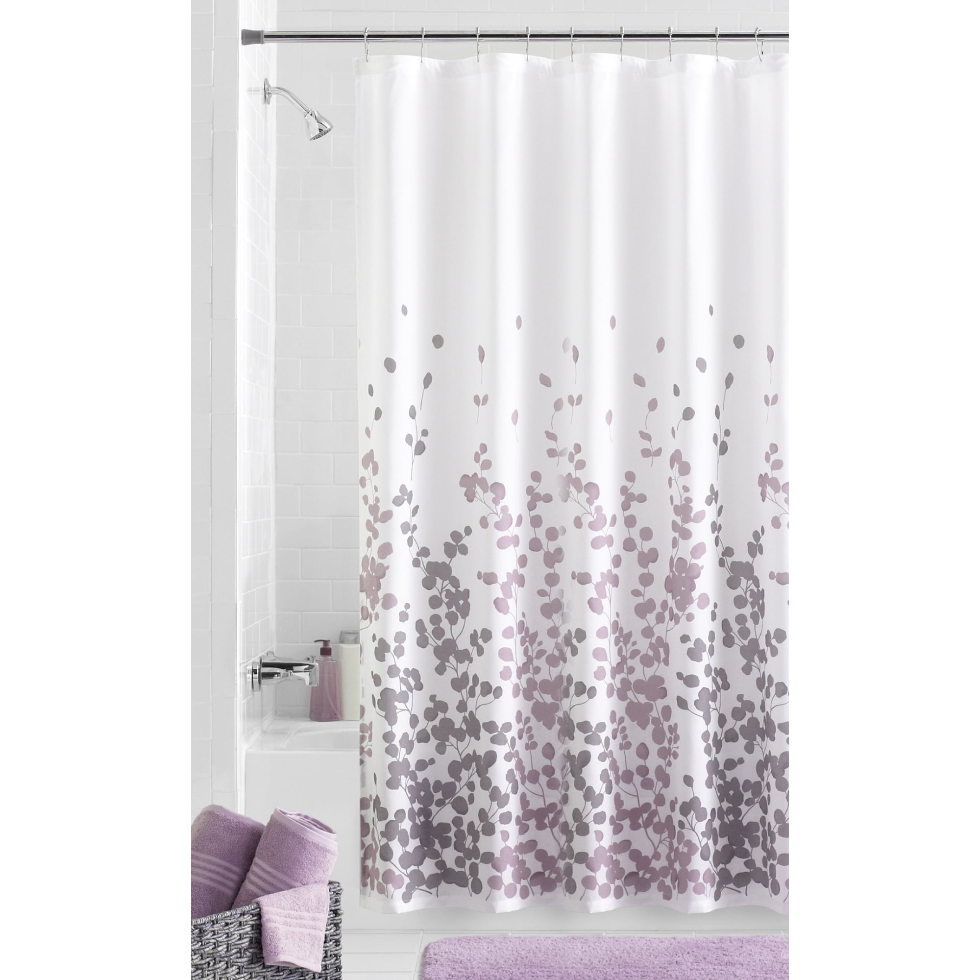 """Mainstays Sylvia Faux Silk Purple, Grey and White Fabric Shower Curtain, 70"""" x 72"""""""