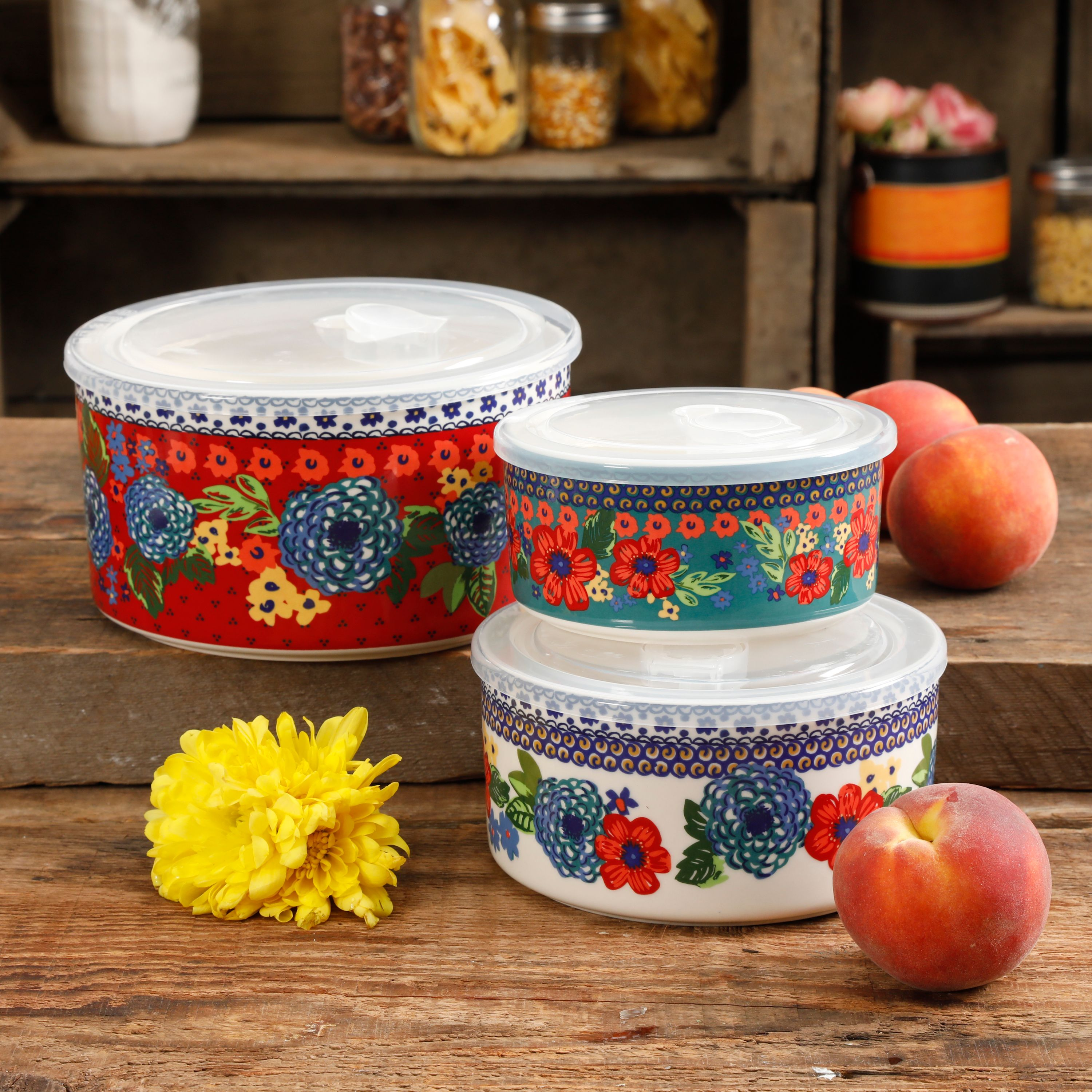 The Pioneer Woman Dazzling Dahlias 6-Piece Ceramic Bowl Containers