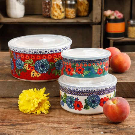 The Pioneer Woman Dazzling Dahlias Ceramic Bowl Containers, 6 Piece