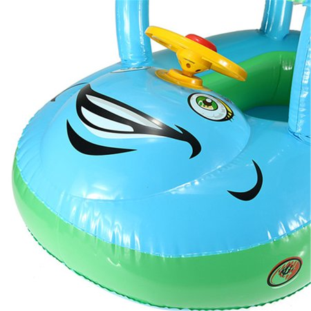 Sunshade Inflatable Swimming Pool Baby Kids Float Seat Boat Car Swim Ring Steering Wheel Summer Toys Outdoor Play (Random Blue Color) - image 7 of 12