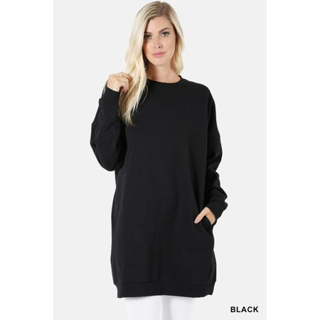 JED FASHION Women's Comfy Fit Crewneck Long Sleeve Pull-Over Tunic Sweater (Shetland Wool Crewneck Sweater)