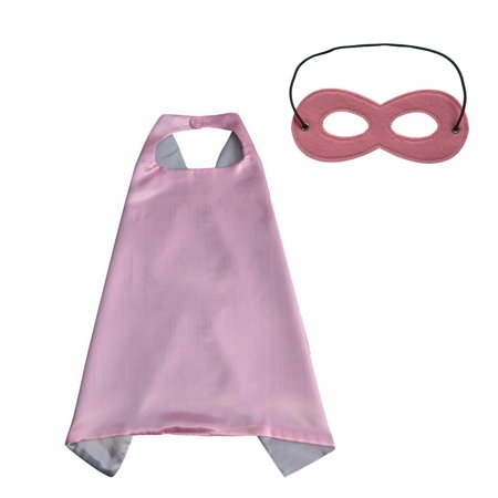 Muka Superhero Capes And Masks Dress Up Halloween Costume For Kid & Adult-Pink/Silver-27.6in x 27.6in